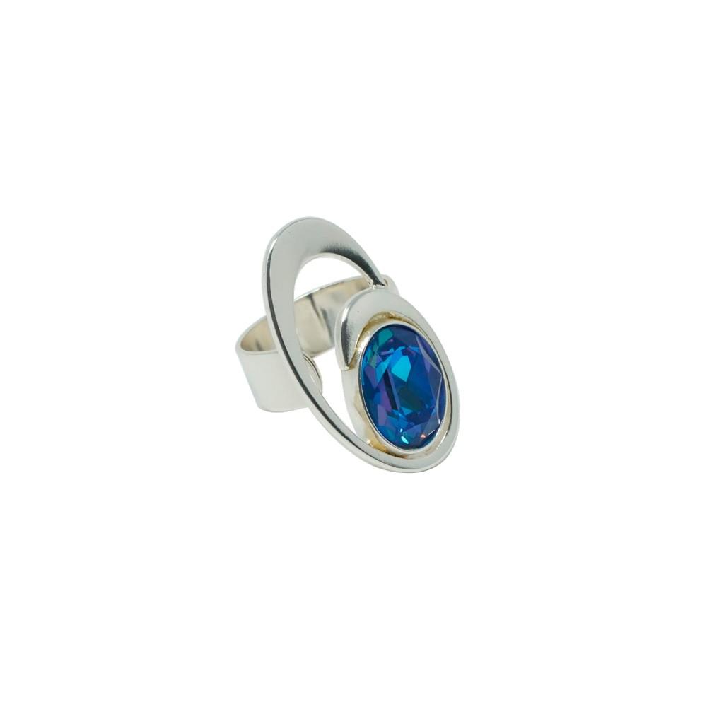 Anillo de diseño ajustable DUETTO con cristal Swarovski®