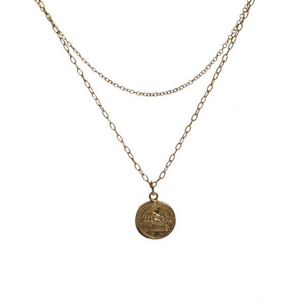 Collar de doble cadena con moneda