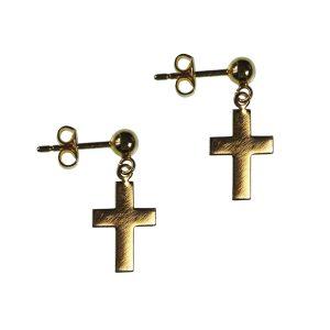 Pendientes con cruz bañados en oro