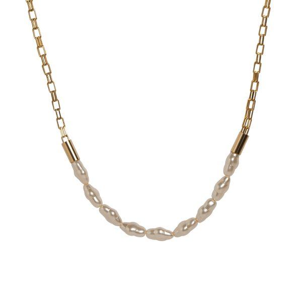 Collar de cadena con perlas agua dulce