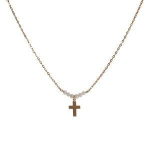 Collar de cadena y cruz con bolitas. Colores blanco o turquesa