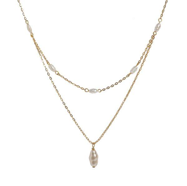 Collar doble cadena con perlas agua dulce