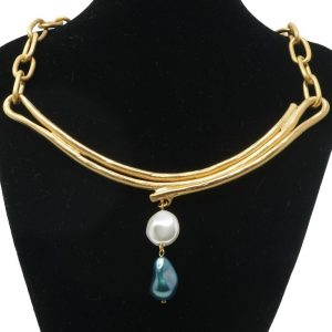 Collar oro mate con perlas NATURE